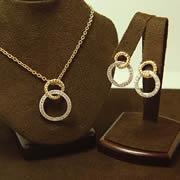 14k YG/WG Diamond Circle Pendant & Matching Post Earrings