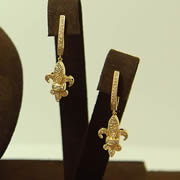 14k YG Diamond Fleurdelis French Clip Earrings