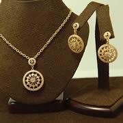14k YG Diamond Drop Pendant & Matching Post Dangle Earrings