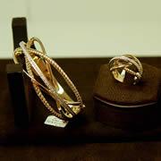 14k YG/WG Diamond Center Bangle/Matching Ring