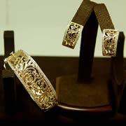 14k YG Hand Made Diamond Bangle/Omega Clip Earrings