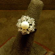 14k WG Pearl & Diamond Ring