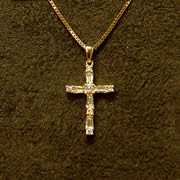 14k YG Diamond Cross