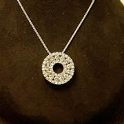14k WG Diamond Circle Pendant