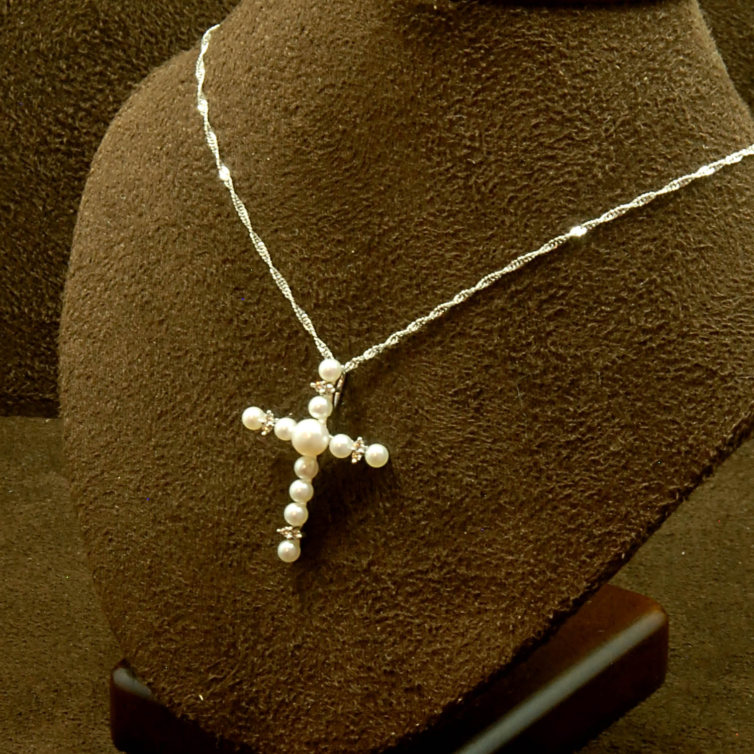 Wake forest jewelers your neighborhood jewelry store 14k wg pearl dia cross pendant aloadofball Images