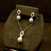 14k WG Pearl & Diamond Set
